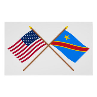 US and Congo Democratic Republic Crossed Flags Poster
