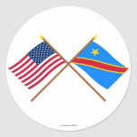 US and Congo Democratic Republic Crossed Flags Round Stickers