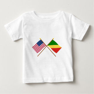 US and Congo Republic Crossed Flags Baby T-Shirt