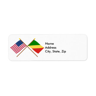 US and Congo Republic Crossed Flags Label