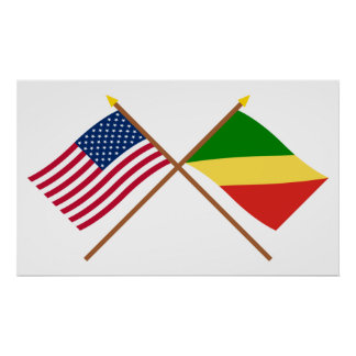 US and Congo Republic Crossed Flags Poster