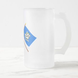 US and Connecticut Crossed Flags Mug
