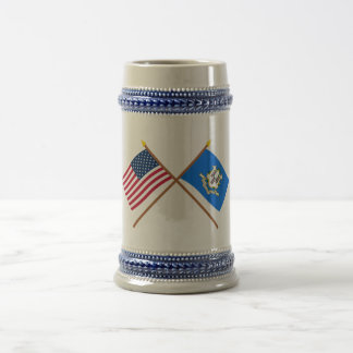 US and Connecticut Crossed Flags Coffee Mug