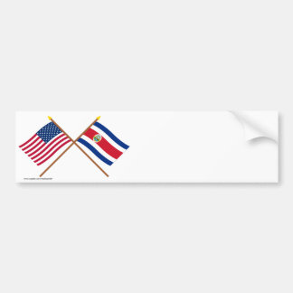US and Costa Rica Crossed Flags Bumper Sticker