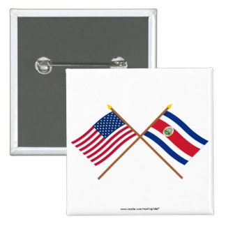 US and Costa Rica Crossed Flags Buttons