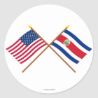 US and Costa Rica Crossed Flags Classic Round Sticker