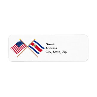 US and Costa Rica Crossed Flags Label
