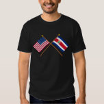 US and Costa Rica Crossed Flags Tee Shirt