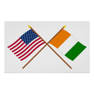 US and Cote d'Ivoire Crossed Flags Poster