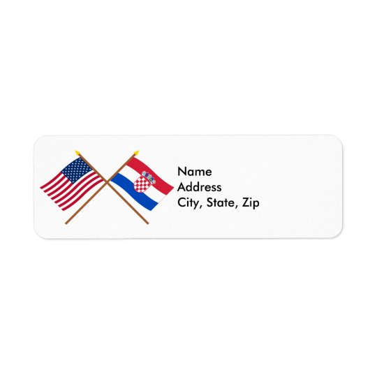 US and Croatia Crossed Flags Label