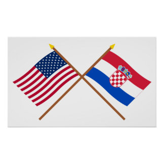 US and Croatia Crossed Flags Poster
