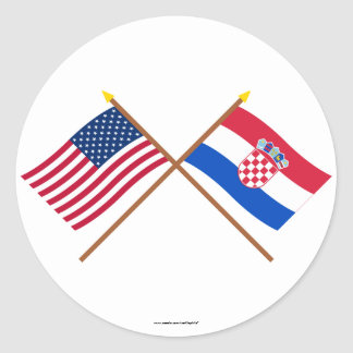 US and Croatia Crossed Flags Round Stickers
