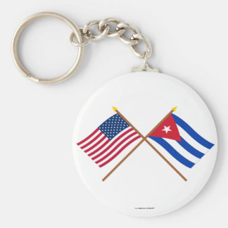 US and Cuba Crossed Flags Basic Round Button Keychain