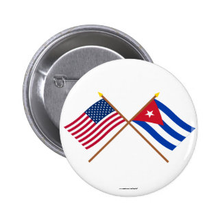 US and Cuba Crossed Flags Pinback Button