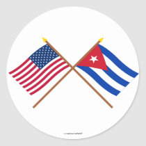US and Cuba Crossed Flags Classic Round Sticker