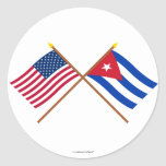 US and Cuba Crossed Flags Round Stickers