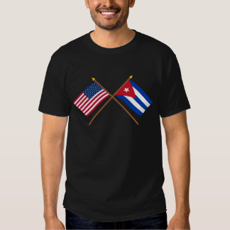 US and Cuba Crossed Flags Tee Shirt