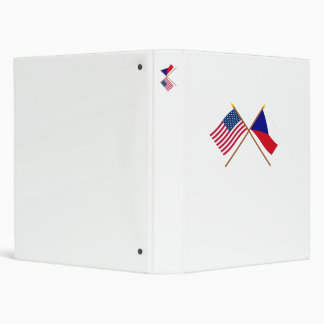 US and Czech Republic Crossed Flags 3 Ring Binder