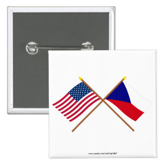 US and Czech Republic Crossed Flags 2 Inch Square Button