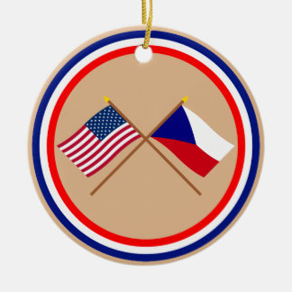 US and Czech Republic Crossed Flags Ceramic Ornament