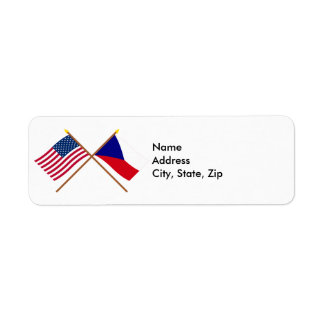 US and Czech Republic Crossed Flags Label