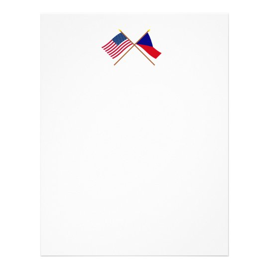 US and Czech Republic Crossed Flags Letterhead