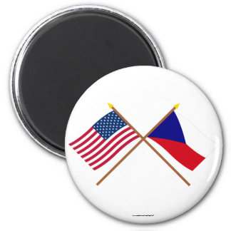 US and Czech Republic Crossed Flags Refrigerator Magnet