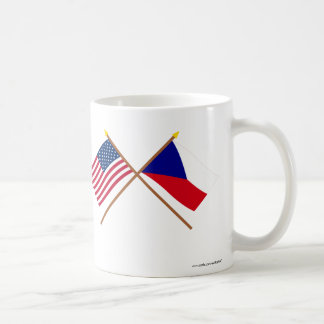 US and Czech Republic Crossed Flags Classic White Coffee Mug