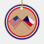 US and Czech Republic Crossed Flags Double-Sided Ceramic Round Christmas Ornament
