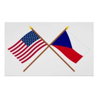 US and Czech Republic Crossed Flags Poster
