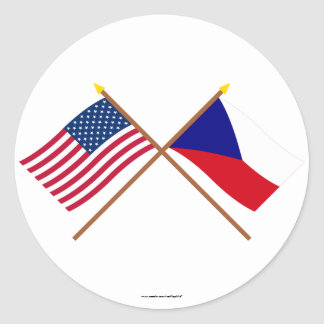 US and Czech Republic Crossed Flags Round Stickers