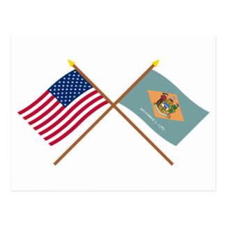 US and Delaware Crossed Flags Postcard
