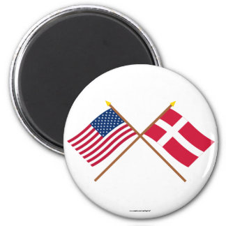 US and Denmark Crossed Flags 2 Inch Round Magnet
