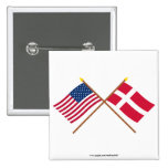 US and Denmark Crossed Flags 2 Inch Square Button