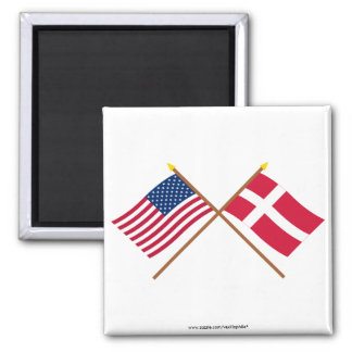 US and Denmark Crossed Flags 2 Inch Square Magnet