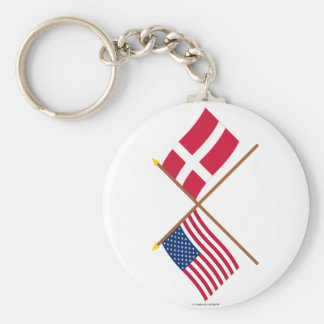 US and Denmark Crossed Flags Basic Round Button Keychain