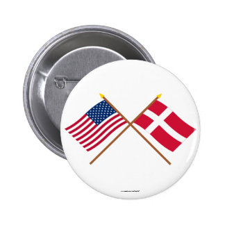 US and Denmark Crossed Flags Button