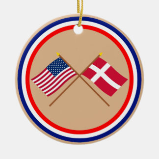 US and Denmark Crossed Flags Ceramic Ornament