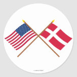 US and Denmark Crossed Flags Classic Round Sticker