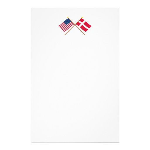 US and Denmark Crossed Flags Custom Stationery