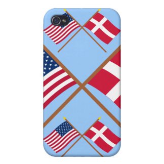 US and Denmark Crossed Flags Cover For iPhone 4