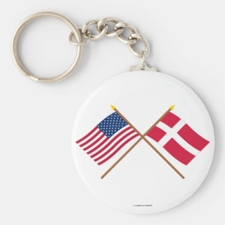 US and Denmark Crossed Flags Keychain