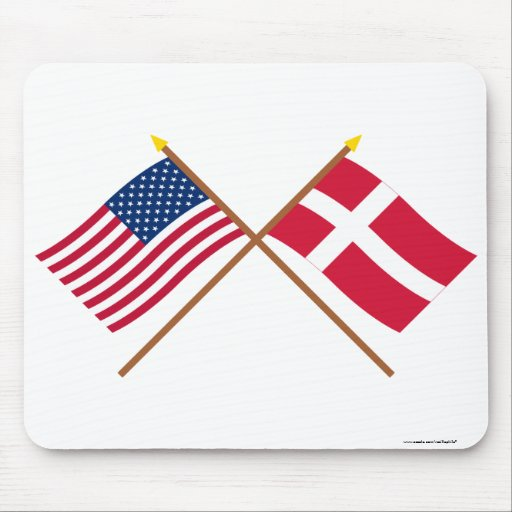 US and Denmark Crossed Flags Mouse Pad