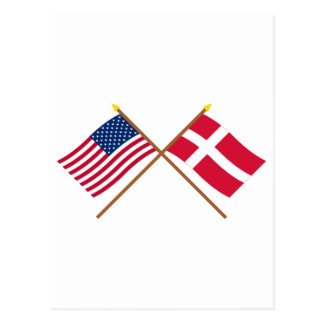 US and Denmark Crossed Flags Postcard