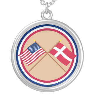 US and Denmark Crossed Flags Silver Plated Necklace