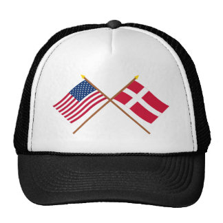 US and Denmark Crossed Flags Trucker Hat