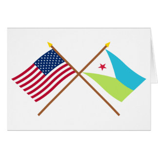 US and Djibouti Crossed Flags Card