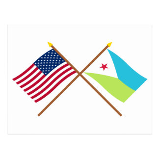 US and Djibouti Crossed Flags Postcard