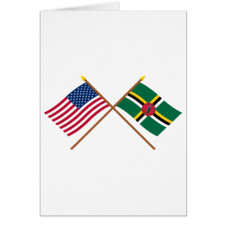 US and Dominica Crossed Flags Card