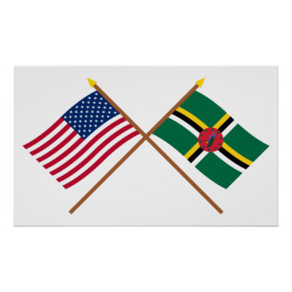 US and Dominica Crossed Flags Poster